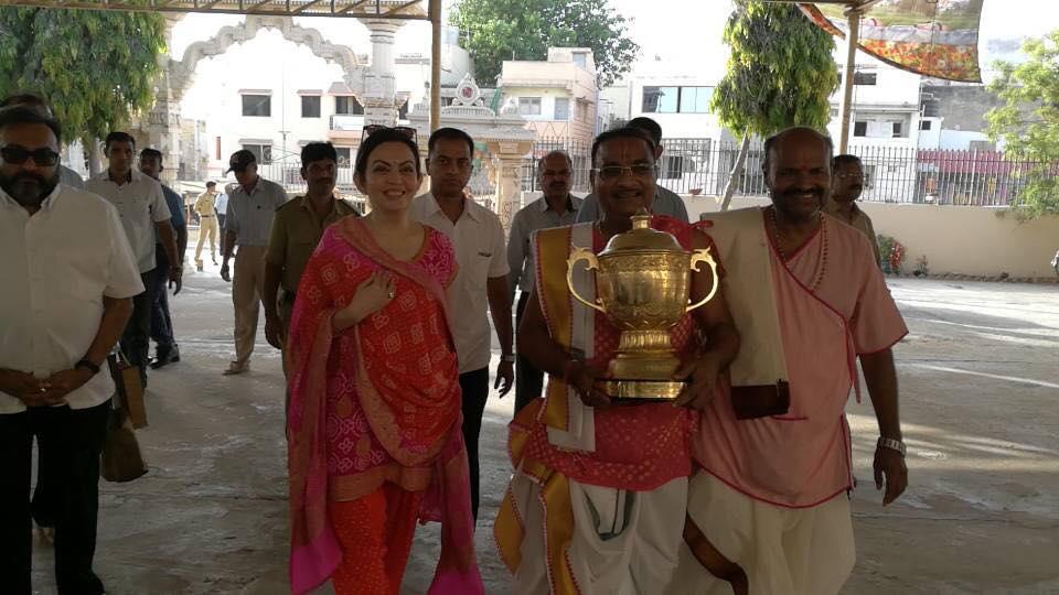 Nita Ambani visits Dwarkadhish temple with IPL trophy